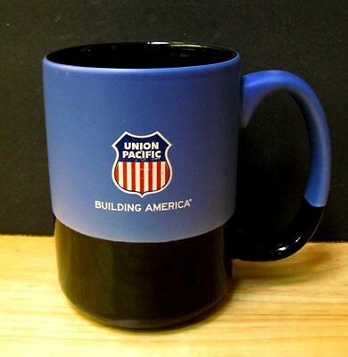 Union Pacific Logo Coffee Mug Building America Red White Blue Shield Tall Black