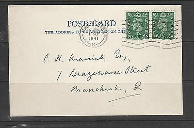 GB FDC 1st May 1941 palin postcard, 1/2d pale Green pair, Manchester cds