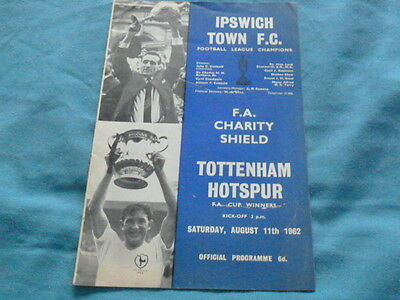 Rare 1962 Charity Shield  Ipswich V Spurs
