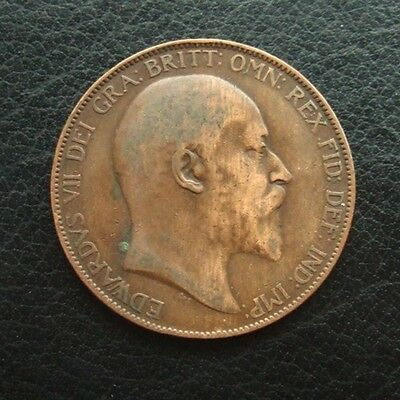 Gb 1907 Penny : King Edward Vii Bronze Coin In Collectable Grade #01
