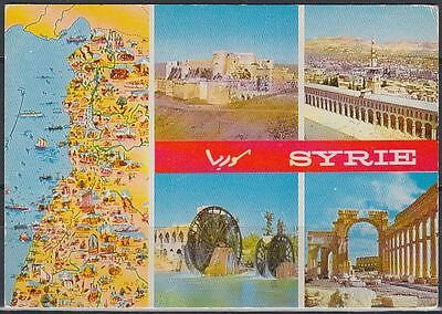 Syrien Syria used Post Card Postkarte Landschaft landscape Karte map [cm701]