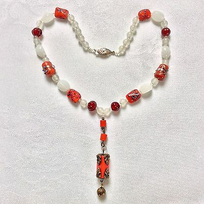 Vintage Art Deco 1930's Style Czech Red Wedding Cake & White Glass Necklace