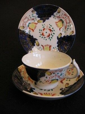 VICTORIAN GAUDY WELSH HAND-PAINTED CHINA CUP/SAUCER TRIO Tulip Pattern 1880's EX
