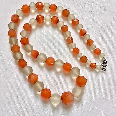 Vintage Antique Art Deco Faceted Orange Carnelian & Frosted Glass Bead Necklace