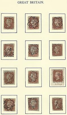 GB QV penny red NUMBERED MALTESE CROSS postmark/cancel COMPLETE stamp collection