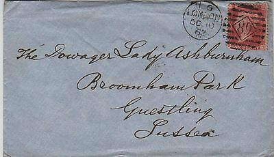 GB QV Cover 1862 1d Red SG38 {TD} Inland 89 Duplex, London to Guestling Sussex.