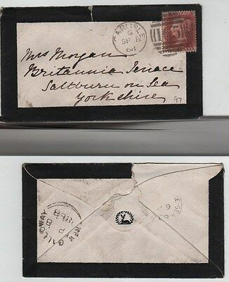 GB QV Mourning Cover 1868 1d Red SG43 {HF} PL97 Carlisle 165 Duplex to Saltburn