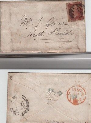 GB QV cover 1856 1d Red SG38 {OK} Blackman St Receiver  London to Southshields