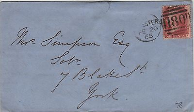 GB QV Cover 1873 1d Red SG43 {GA} PL78 Chester 180 Duplex code H to York.B/s Yor