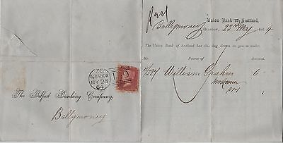 GB QV Wrapper 1864 1d Red {TG}  Glasgow to Ballymoney.Glasgow code {reversed D3}