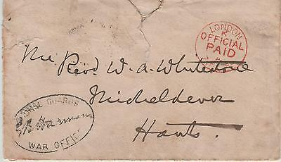GB QV  London Official Paid with Horse Guards War Office Cachet to Micheldever H