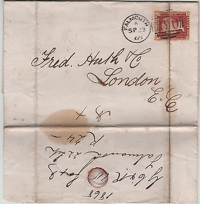 GB QV Wrapper 1868 1d Red SG43 {CJ} PL 89Falmouth 290 Duplex code A to LondonEC