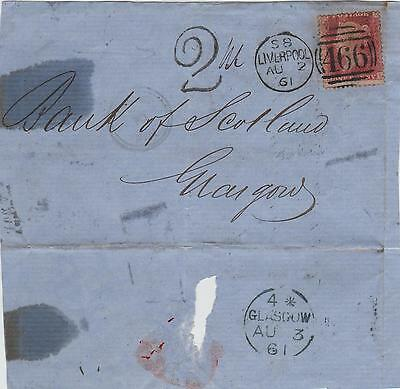 GB QV Wrapper 1861 1d Red SG38 {HG} Handstamped 2  Liverpool to Glasgow B/s Gl