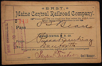 Original 1890 Maine Central Railroad Pass - East