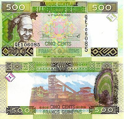 GUINEA 500 Francs Banknote World Paper Money UNC Currency Pick p-New 2015 Bill