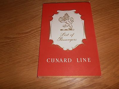 1959 R.M.S Queen Mary Passenger List, April 2nd, 1959, Southampton-New York