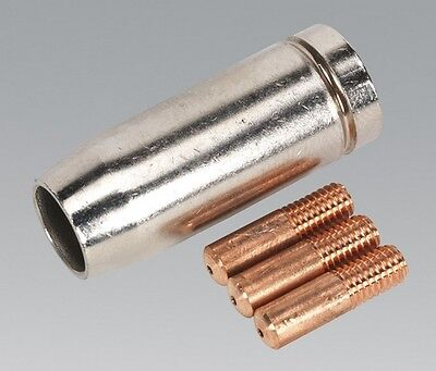 Sealey MIG954 Conical Nozzle X 1 Contact Tip 0.8mm X 3 Tb14 Welding Accessory