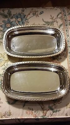 Vintage Silver Plate Serving Dishes Pair Luke Du Barry Paramount good condition