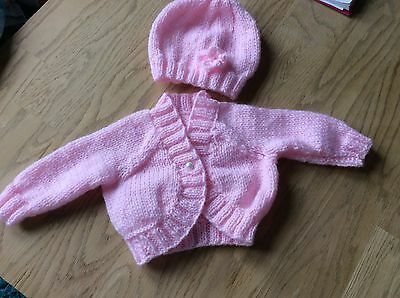 Handmade Baby Girl bolero style Cardigan & Hat in Pale Pink  suit Small baby