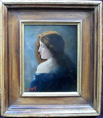 A Godinat French School Portrait C1890 follower of Henner Oil Painting