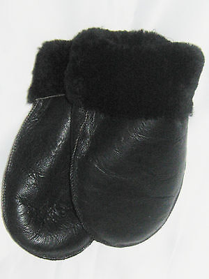 New! Black Real Sheepskin Shearling Mittens Mitts Gloves Handmade Real Leather