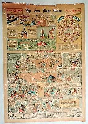 B639. Walt Disney SILLY SYMPHONIES MICKEY MOUSE Newspaper Comic Page (1934) [
