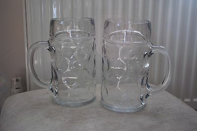 Pair of German Beer Stein Glass 1L Dimpled Beer Mug Tankards NEW Collect HR1