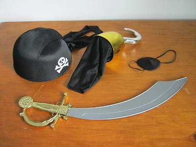 Pirate Lot, Cap, Hook, Eye Patch, Sword Halloween, Play, Dress Up, Party Costume