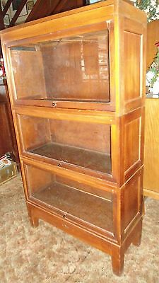 Antique Barrister Lawyer Bookcase Cabinet GLOBE WERNICKE 3 SECTIONS CAP & BOTTOM