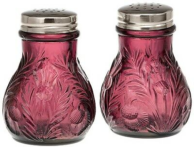 Amethyst Glass Inverted Thistle Pattern Salt & Pepper Shaker Set