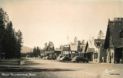 1940s Street Scene Texaco Gas Station West Yellowstone Montana Sanborn RPPC