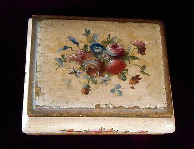 Vintage FLORENTINE ITALY WOOD BOX Trinket Jewelry Made in Italy