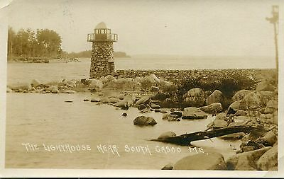 Vintage Real Photo Postcard 1922 - Lighthouse Near South Cosco Maine