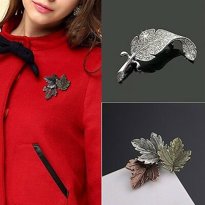 Fashion Vintage Women Brooch Gold/Silver Plated Maple Leaf Brooches Pins Jewelry