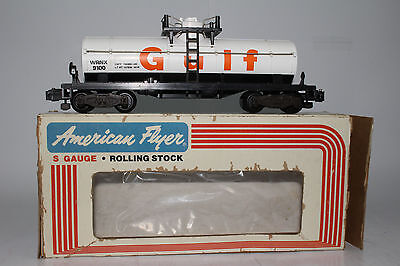 American Flyer #4-9100 Gulf Oil Single Dome Tank Car, Excellent, Boxed