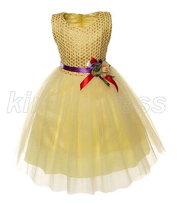NEW Kid Flower Girl Pageant Wedding Party Fancy Dress Gold Yellow SZ 5-6 Z571B