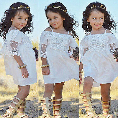 Lace Girl Princess Dress Kid Baby Party Wedding Pageant Formal Dresses Clothes