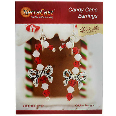 TierraCast Kit, Candy Cane Earrings 2 Inches, 1 Kit, Red, White, Antiqued Silver