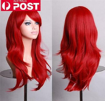 AU Stock Women Red Long Wavy Fashion Cosplay Party Straight Full Hair Wigs