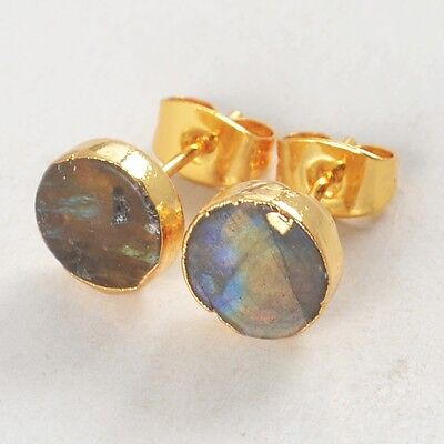 8mm Round Natural Labradorite Stud Earrings Gold Plated H80585