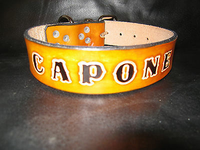 Custom Made Genuine Leather Dog Collar With Name Tan 1 1/2'' Width Personalized