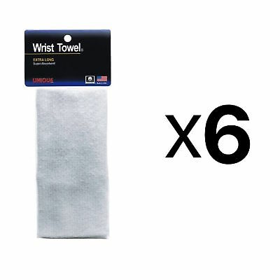 Unique Sports Wrist Towel Extra-Long Absorbent Non-Allergenic White (6-Pack)