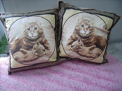 Ginger Cat And  Kitten       One Pair Of Cushion 40  Cm / 16 Inches
