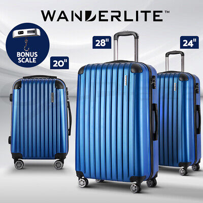 Wanderlite 3pc Luggage Sets Suitcases Trolley Set TSA Hard Case Lightweight Blue