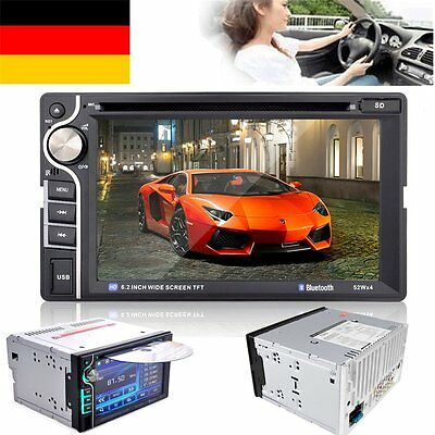 """6.2"""" 2 DIN Car Stereo Autoradio Bluetooth Touch Screen DVD CD MP3 Player FM AUX"""