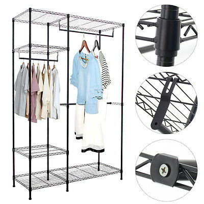 Heavy duty Clothes Rack Double storage W/Hanging Rail Wire Metal Carbon Steel