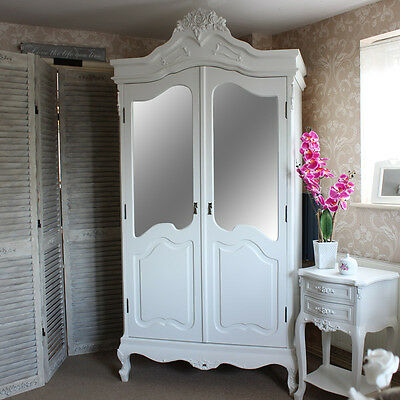 Rose Wooden Mirrored armoire Wardrobe White French bedroom Home Furniture