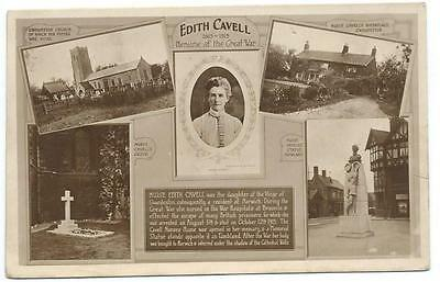1925 Edith Cavell, Heroine, Shot By Germans In 1915, 5 View B&w Real Photo Pc