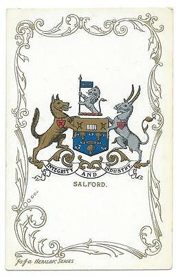 Edwardian Era Colour Postcard Showing The Heraldic Arms And Motto For Salford