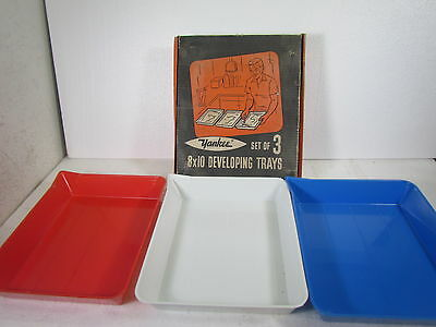 "3 Vintage Yankee Darkroom Film Developing Trays - 8""x10"" with Original Box"